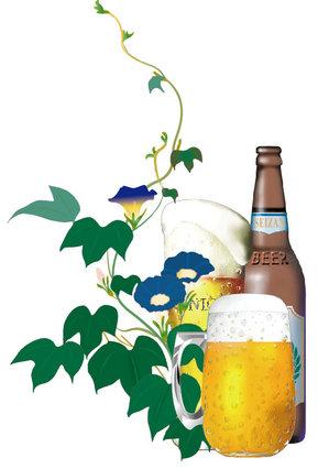 ビールと朝顔.jpg